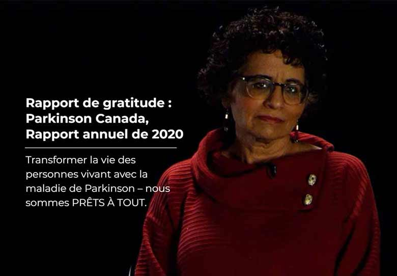 Rapport de gratitude: Parkinson Canada, Rapport annuel de 2020